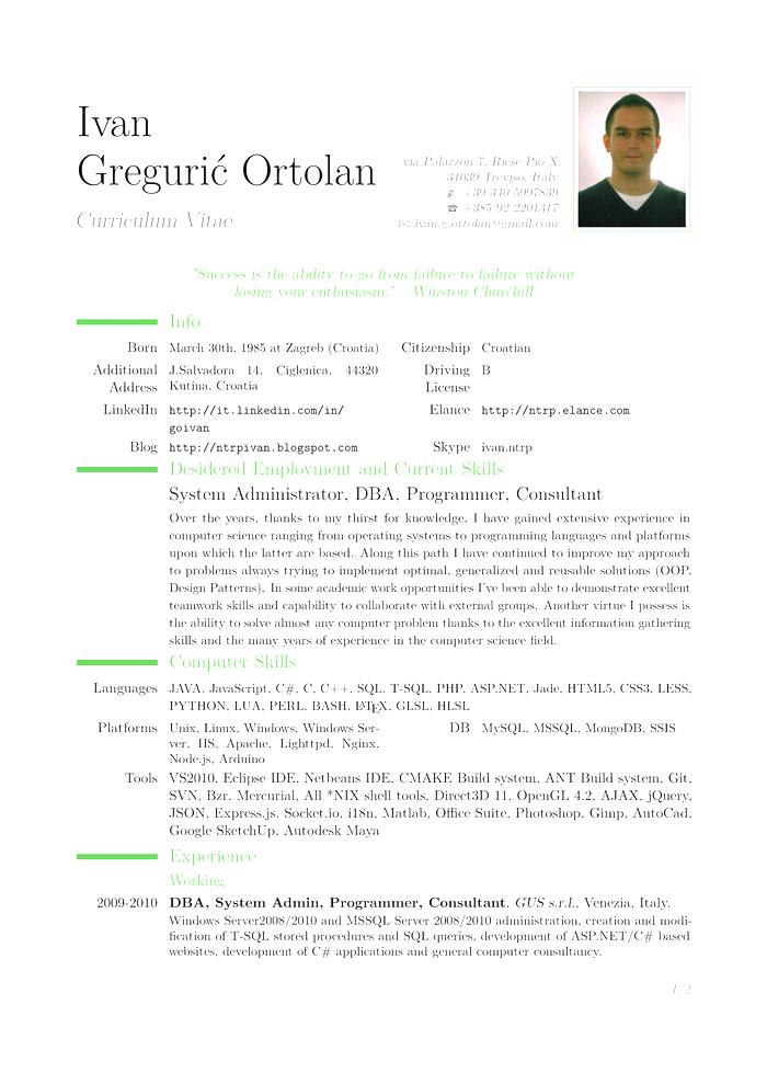 Curriculum Vitae In Italiano Modelos De Curriculum Vitae