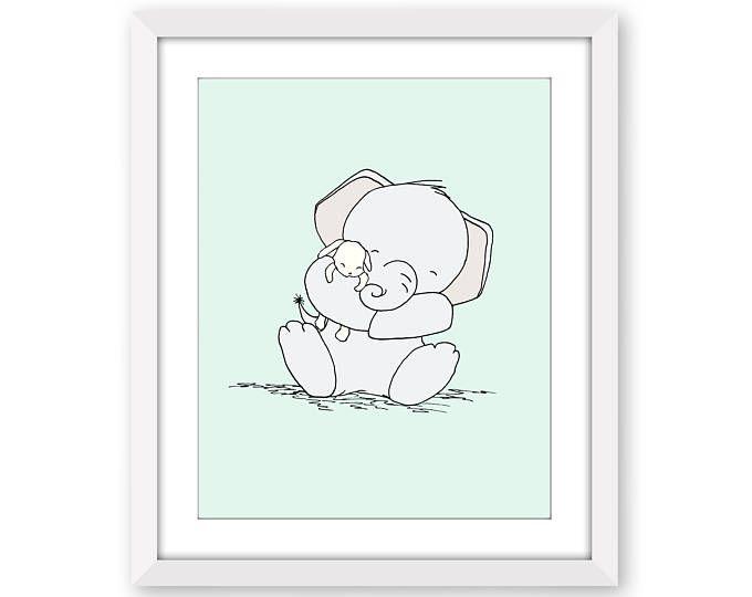 Elephant Nursery Art Snuggles And Bunny Print