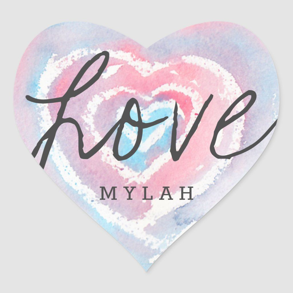 Personalized Watercolor and Crayon Heart Stickers