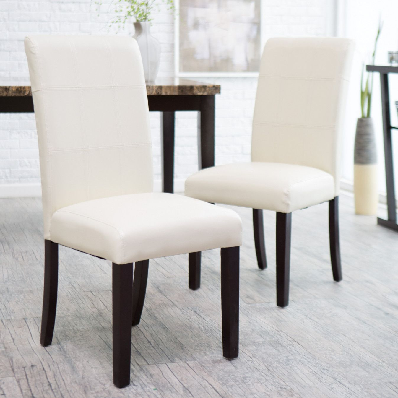 55 Ivory Leather Dining Room Chairs  Modern Rustic Furniture Captivating Ivory Leather Dining Room Chairs Inspiration Design