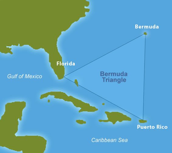 This image is a Bermuda Triangle map locating the area where many