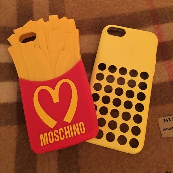 iPhone 5C Moschino & Yellow Apple Case(s)📞... Barely Used & in Excellent Condition two  iPhone 5c  Moschino & Apple Case(s) for less than the price of one🙃😊🙃.... Moschino Accessories