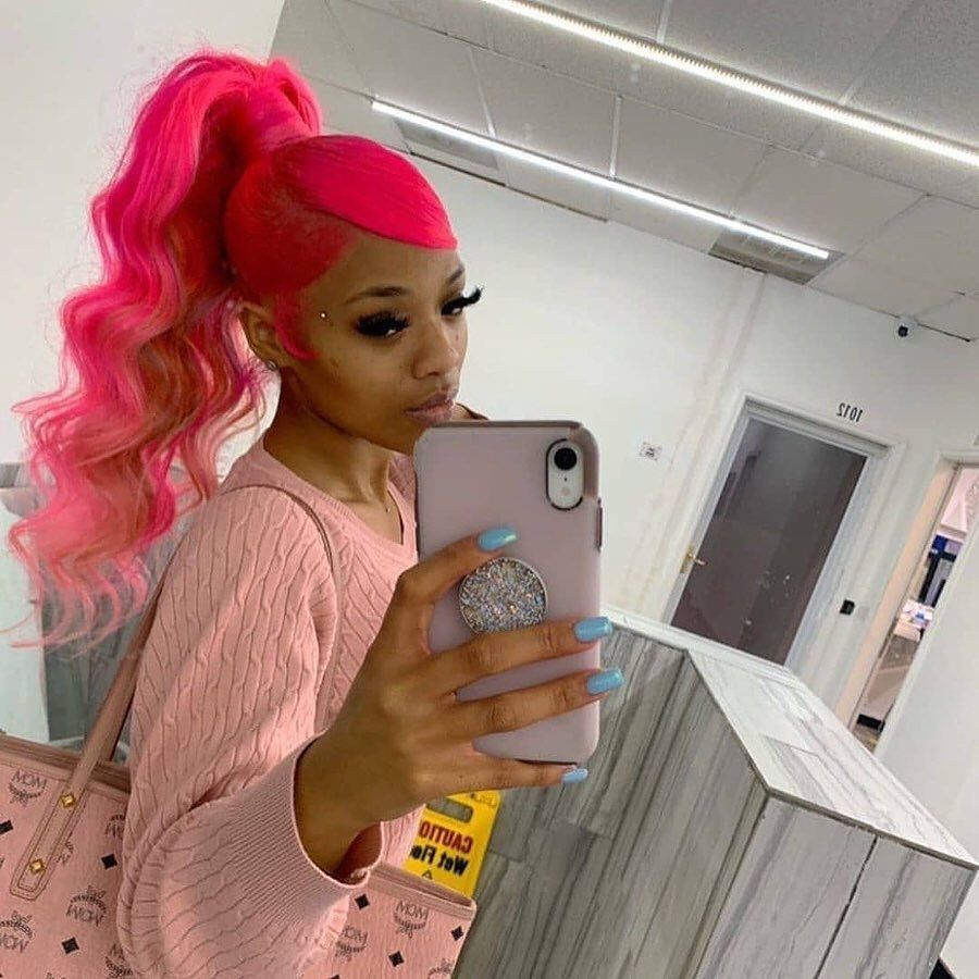 LM customized hot pink wave lace front full lace v