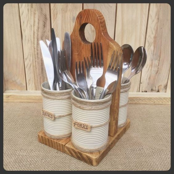Photo of Recycle pallet and tin cans to keep this cutlery …