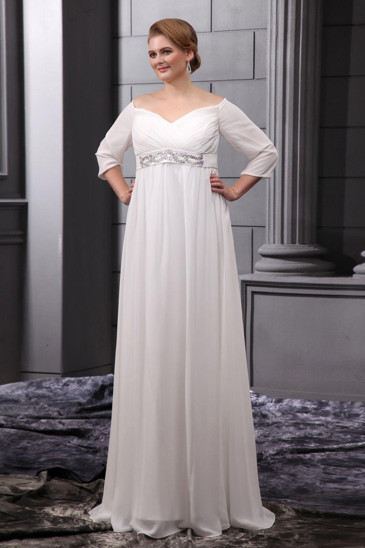 Plus Size White Chiffon Floor Length V Neck Wedding Dress Empire Waist Wedding Dress Wedding Dress Sleeves Wedding Dresses [ 1500 x 1000 Pixel ]