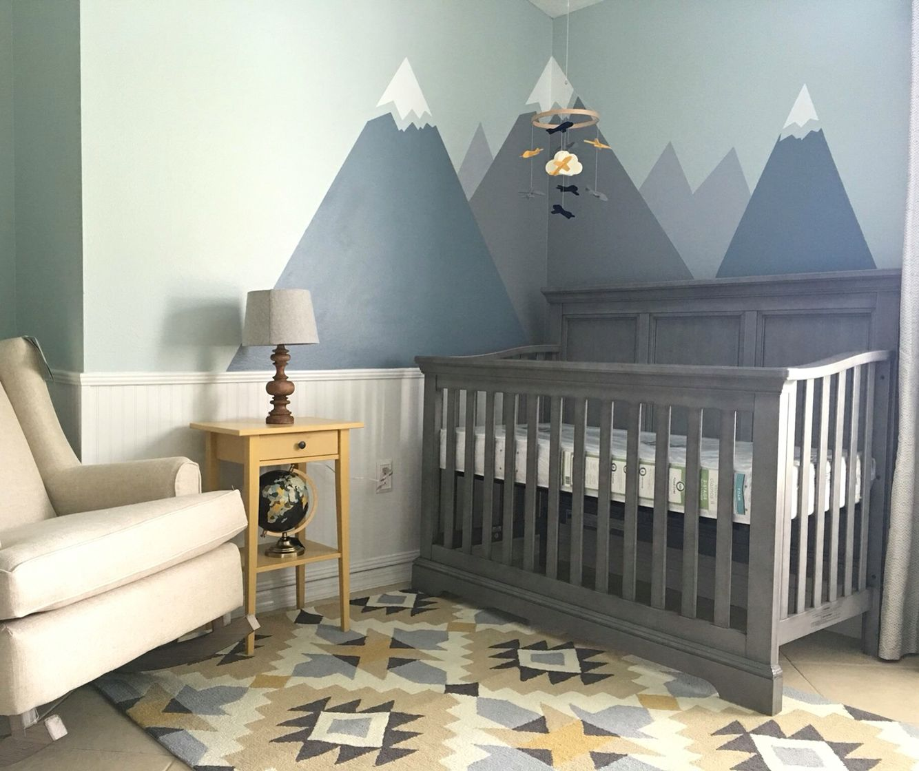 Nursery decor modern nursery with mountains and tribal for Modern nursery decor