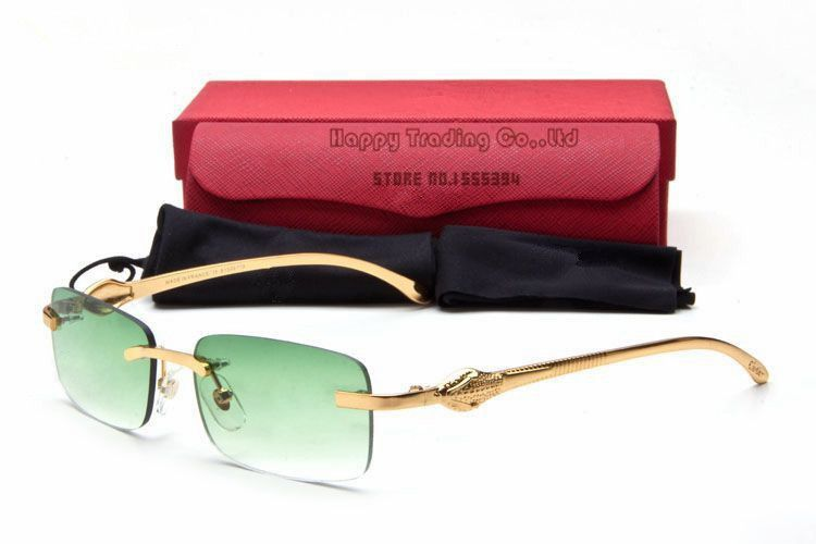 9119fef2d #Cartier #green lenses rimless frame sunglasses - #panthere collection