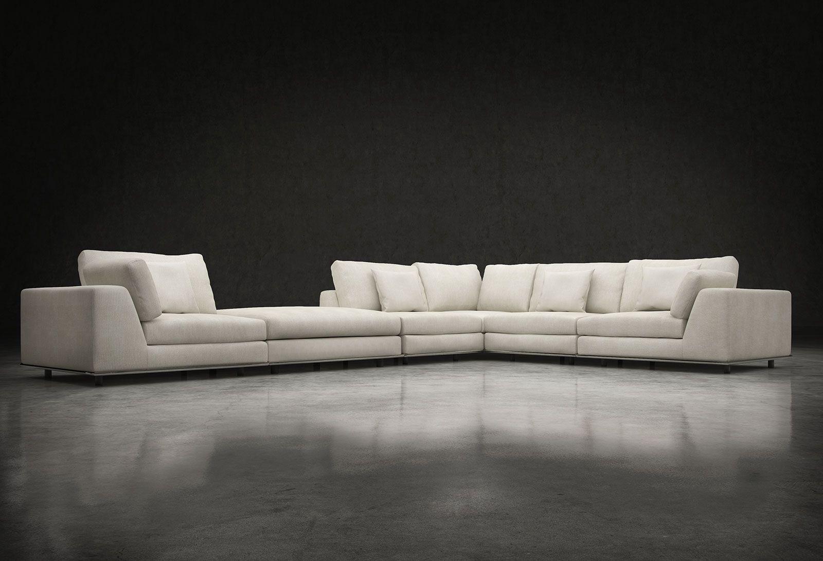 Modloft Perry 2 Arm Corner Sofa w Ottoman MD820SET03
