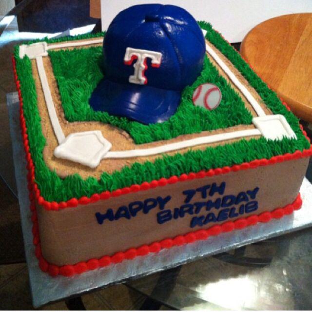 Baseball Field Hat Texas Rangers Birthday Cake Bettierockercakes