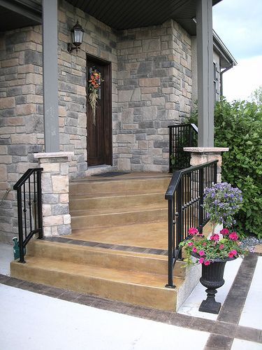concrete front steps design ideas acid stained front steps klassen concrete blog concept
