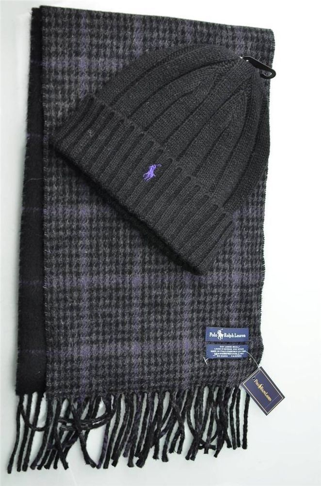 d962ddd35771a Polo Ralph Lauren Mens Winter Reversible Lambs Wool Scarf Muffler   Knit Hat  New