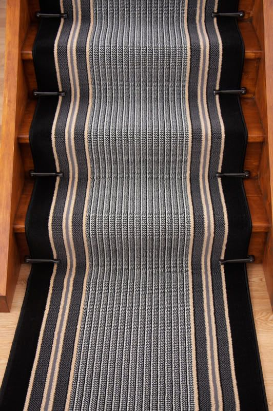 Stair carpet runners lima black beige stripe stair carpet thick long hall runner rug any - Black carpet runners for hall ...