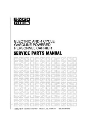 EZGO 27387G01 1991-1994 Service Parts Manual for Electric