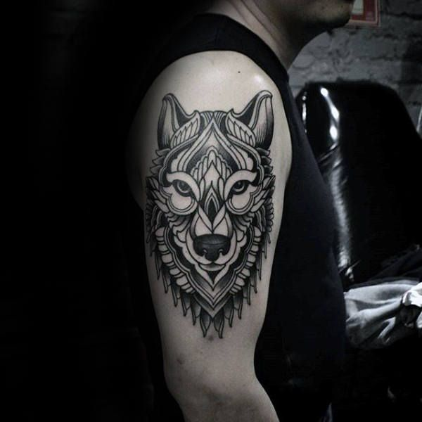 90 Geometric Wolf Tattoo Designs For Men Manly Ink Ideas Wolf Tattoo Design Geometric Wolf Tattoo Geometric Wolf