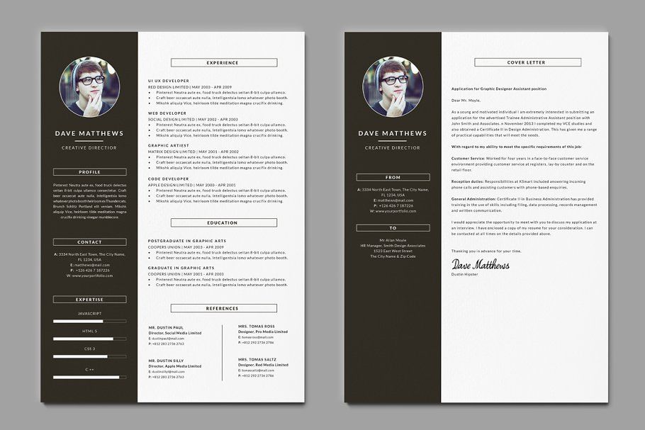 Hipster Resume Cv With Cover Letter Hipster Resume Cover Letter Resume Cv