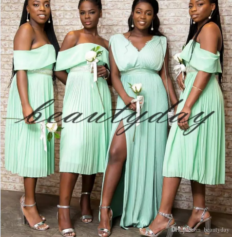 Ice Blue Bridesmaid Dresses 2019 New African Nigerian Maid Of Honor