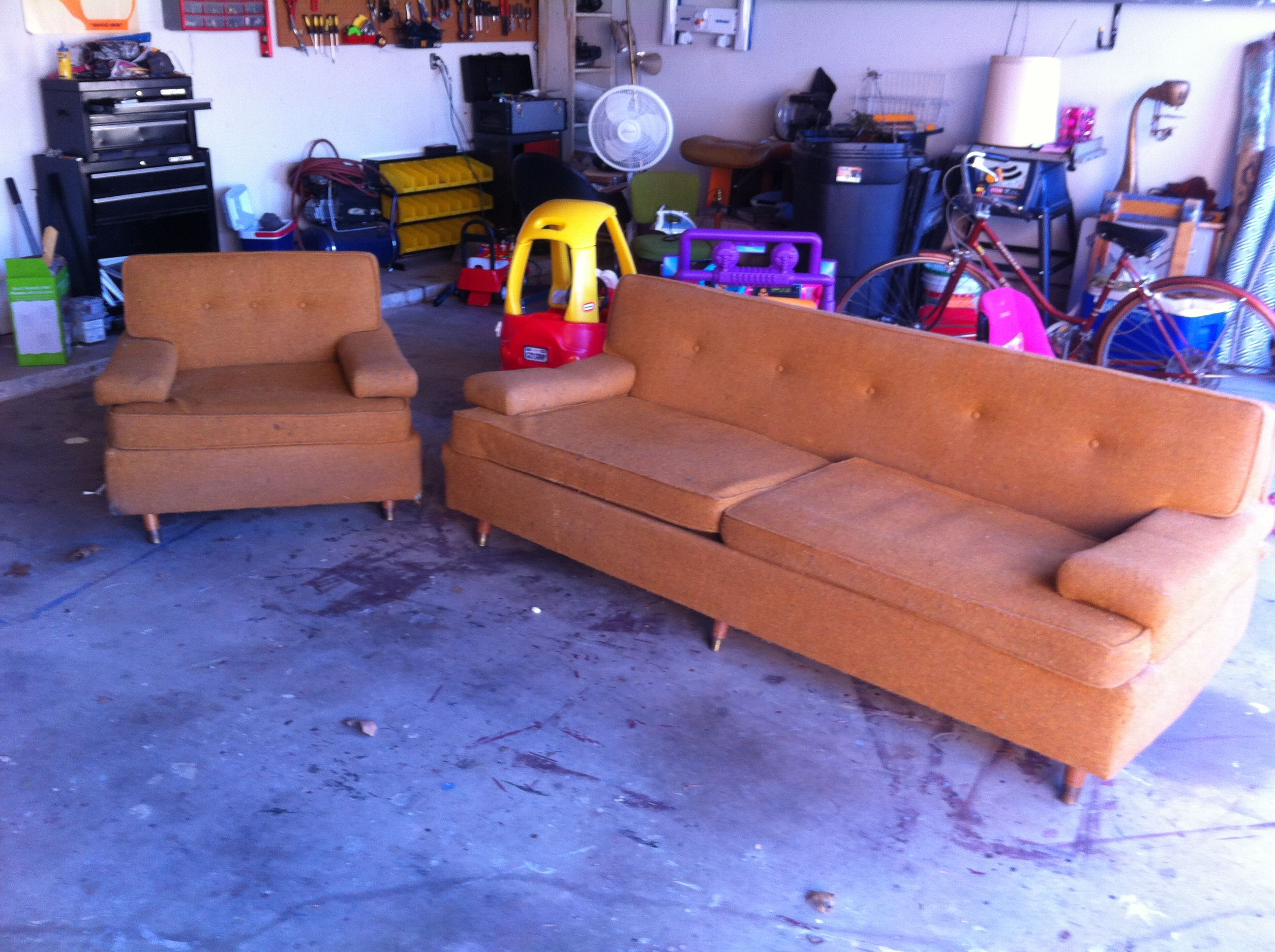 Mid century sofa and matching chair $500