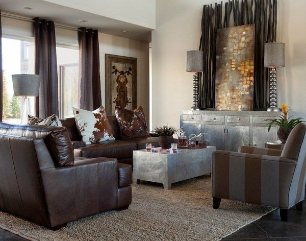 Contemporary Living Room Decoration Ideas Decorative Bamboo Poles Awesome Brown Living Room Design Design Ideas