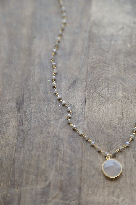 Labradorite and Grey Chalcedony Necklace Grey by AmuletteJewelry
