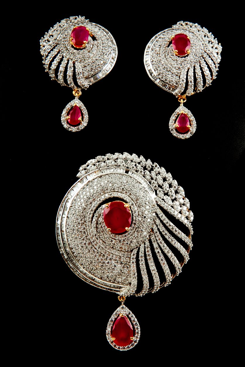 American diamonds pendant set with ruby stone in two tone plating