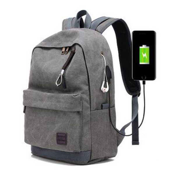 TUGUAN Men Casual Laptop Backpack USB Charging Student Canvas Waterproof Travel Backpacks