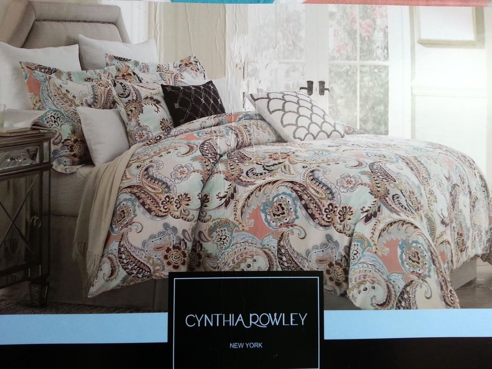 Cynthia Rowley Aqua Lime Green Peach Paisley 3pc KING DUVET +SHAMS ... : cynthia rowley quilt twin - Adamdwight.com