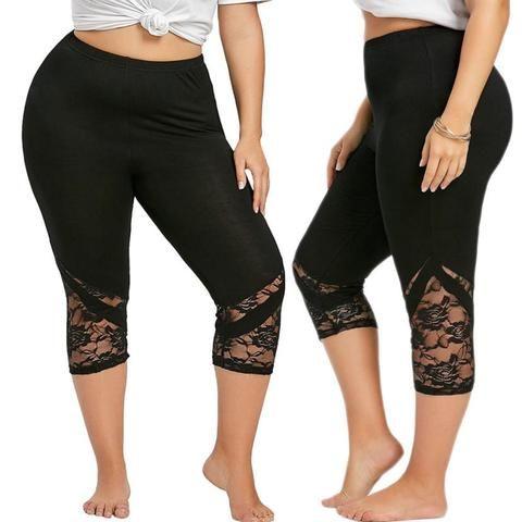 fd967e3c695 Women Lace Patchwork Skinny Leggings Polyester High Elastic Waist Mid- Calf  Women s Summer Plus Size Leggings  50305