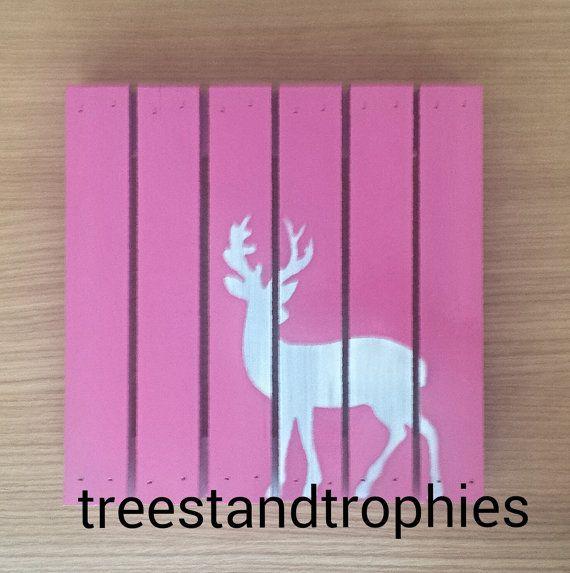 Pink camo deer nursery wooden wall decor!   Home decor   Pinterest ...