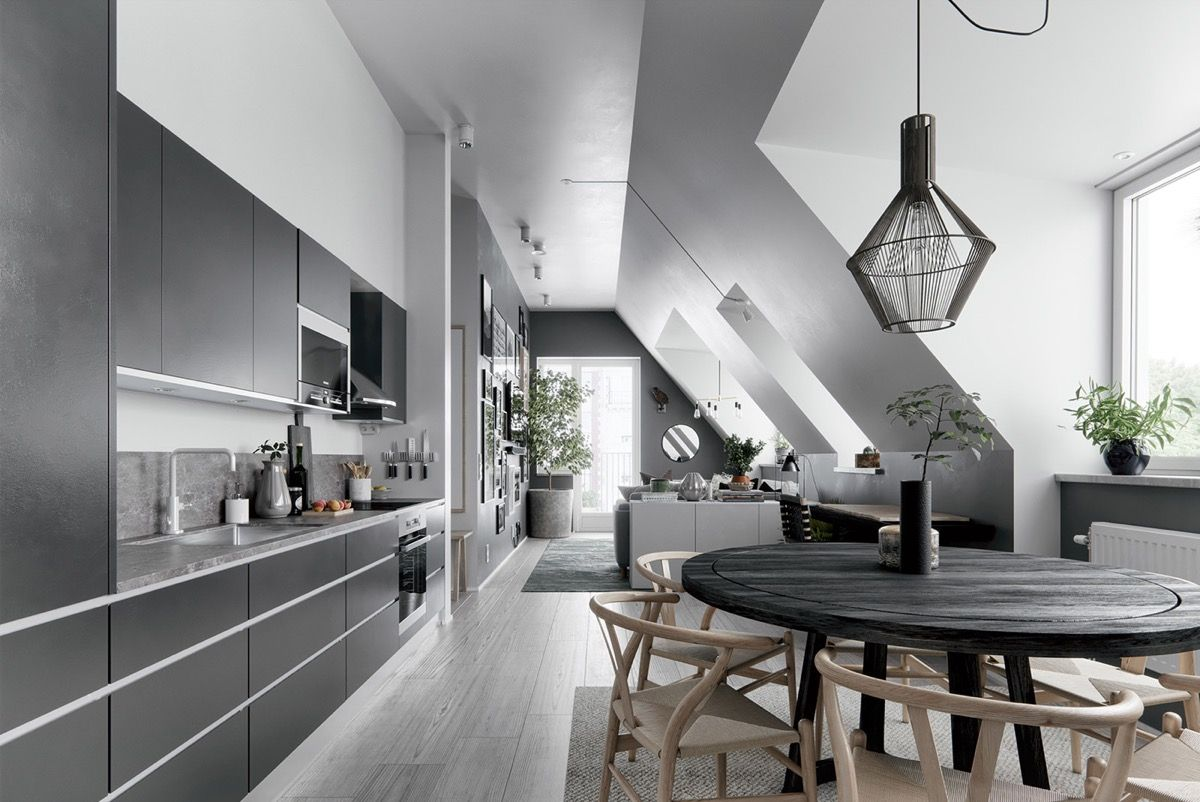 2 Gorgeous Attic Apartments That Use Grey As Base Loft Apartment Designs Attic Apartment Apartment Design