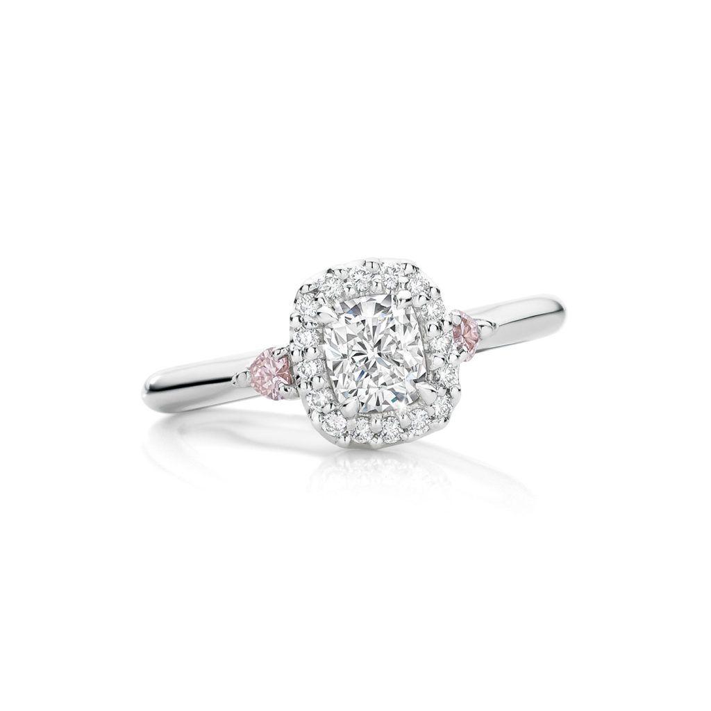 631f60e8c2103 Glacier® White Diamond Ring with Pink Diamond Hearts | Jewelry ...