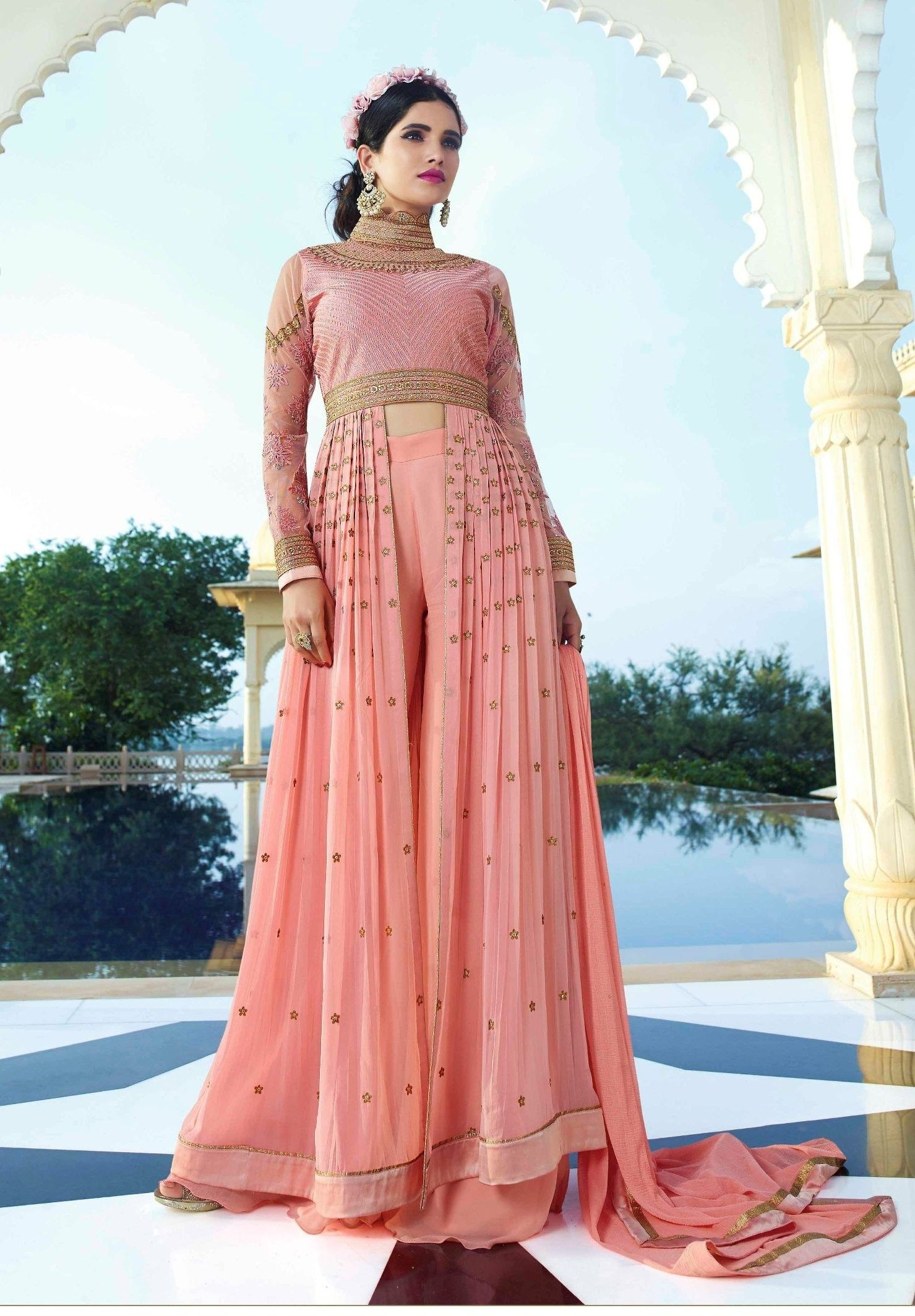 Light Pink Colour Royal Georgette Indo Western Suit | Indo western ...