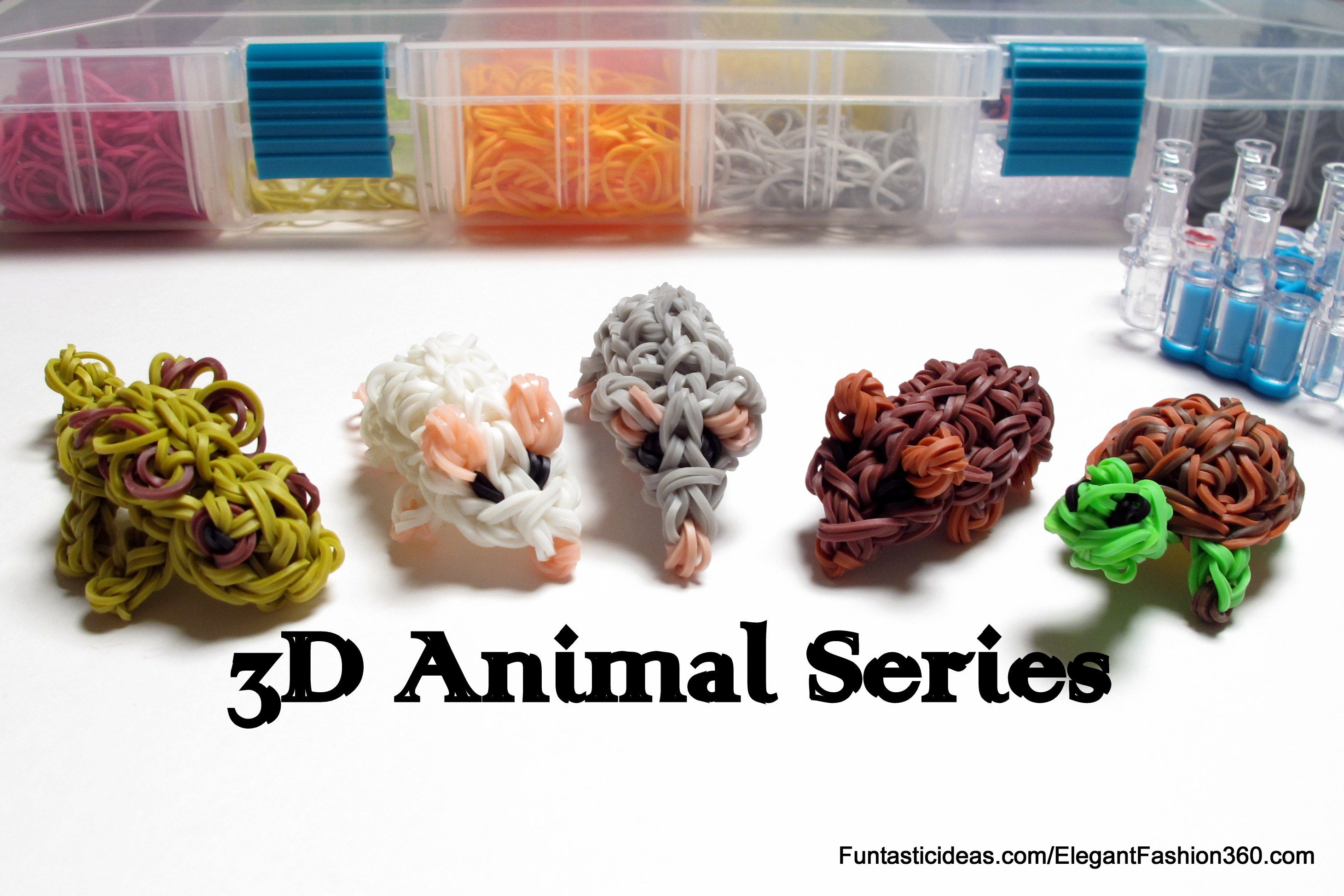 3D Animal Series by Elegant Fashion 360Rainbow Loom 3D mouse, turtles, and chameleons Figures/Charms