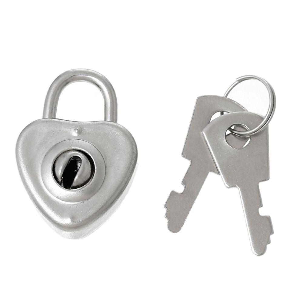 Jewelry Box Locks Heart Latch With 2 Keys Silver Tone 31cm x22cm