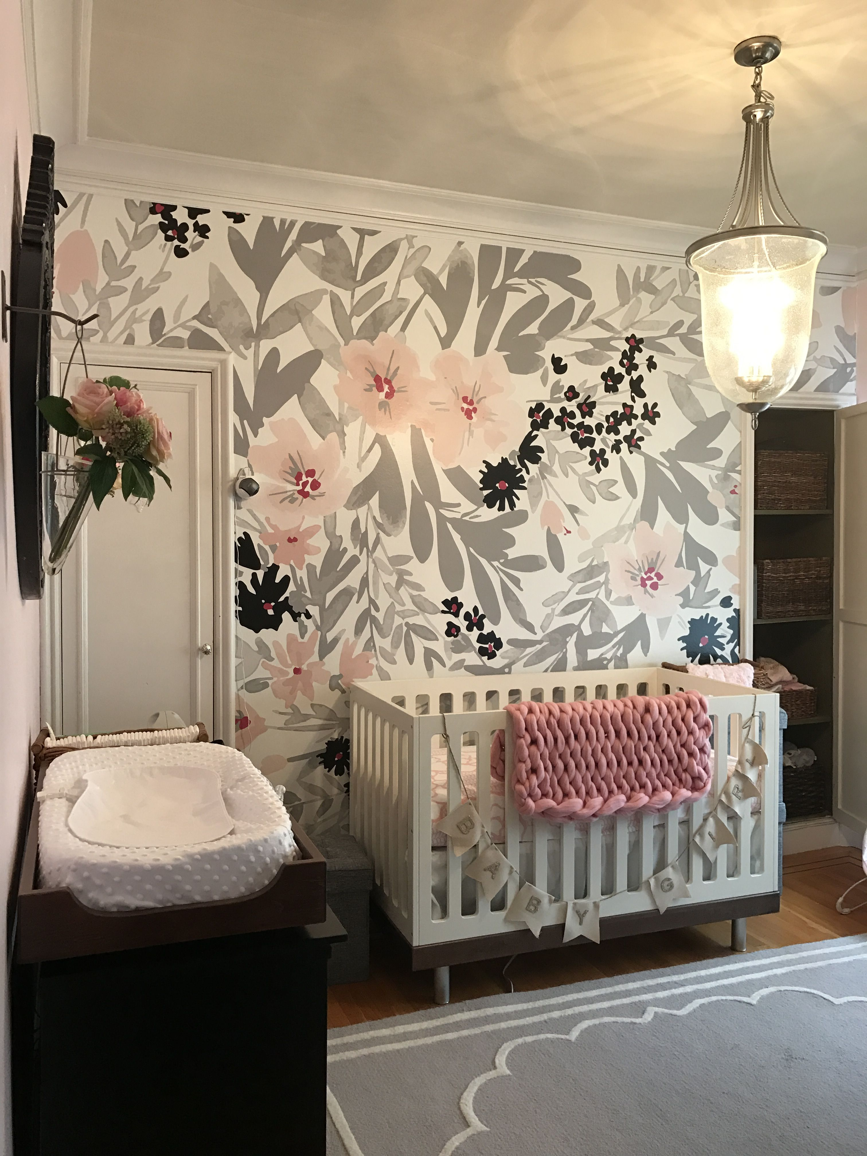 Baby Ella Baby girl nursery inspiration Floral wallpaper