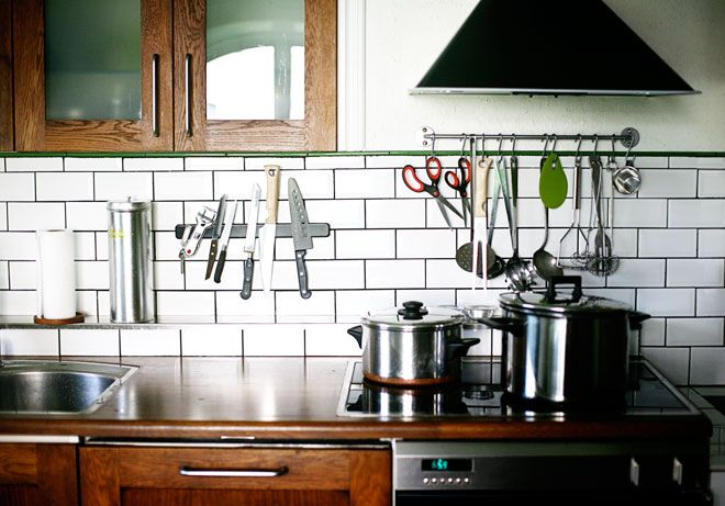 Shelving, A Magnetic Knife Rack And Dangling Cooking Utensils Free Up The  Counter Space For