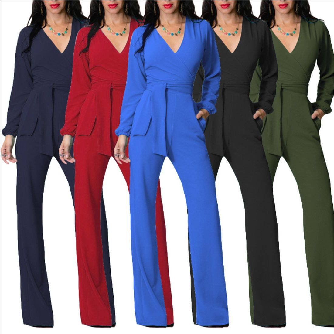 cfa7403bbf73 Women Winter Clubwear V Neck Playsuit Bodycon Party Jumpsuit Long Pants  Romper