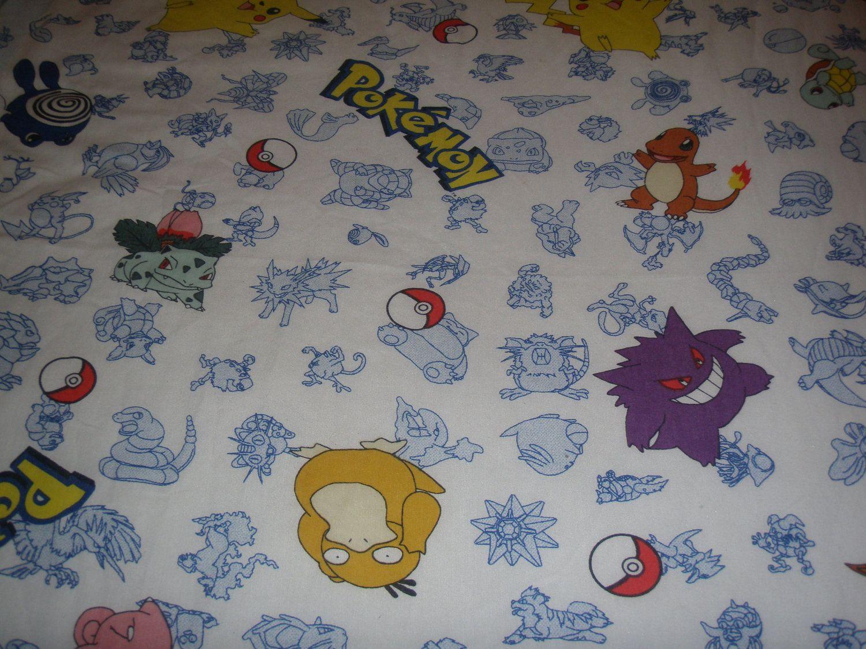 Pokemon TWIN FLAT Sheet - Reclaimed Bed Linens. $15.00, via Etsy.