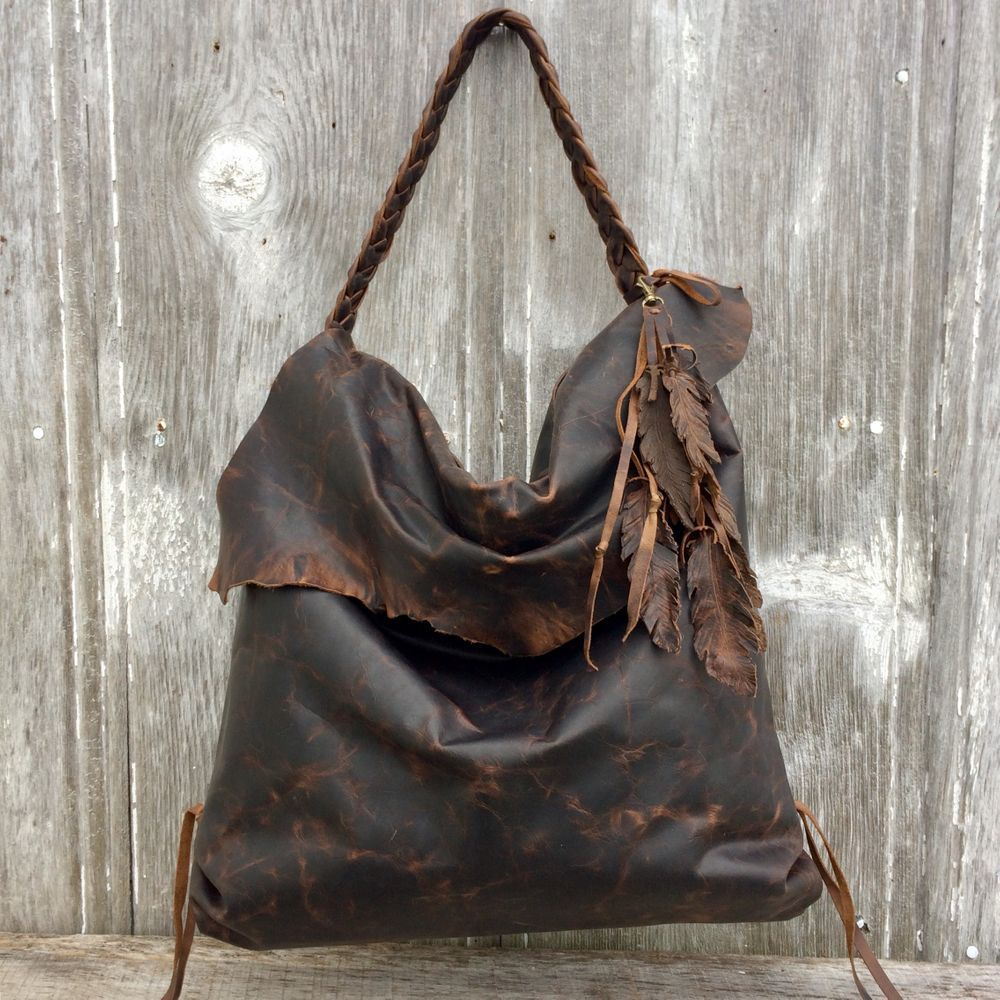 Leather Hobo Bag - Dark Brown Antiqued Leather - Rustic - Feathers - Boho -  Handbag - Handmade - Leather Purse - Bohemian Style Stacy LeighVery  distressed ac65095c395e8