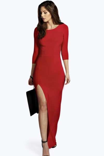 468e0dea8ef Candice Side Split Slinky Maxi Dress at boohoo.com