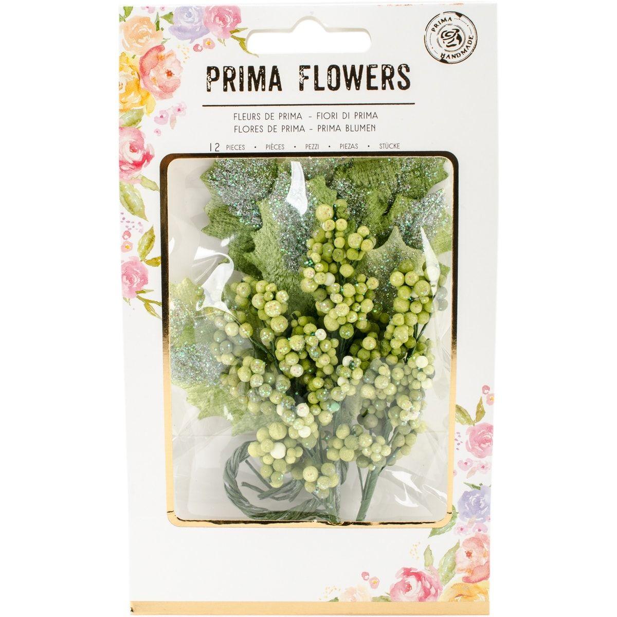 Prima Marketing Glittered Leaf & Berry Stems-Evergreen; Brig - evergreen; bright green