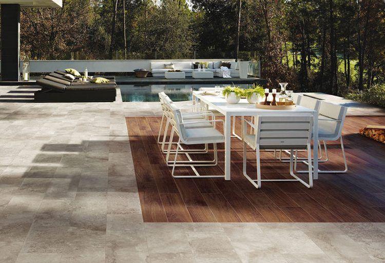 Keramische bodenplatten für terrasse in holzoptik