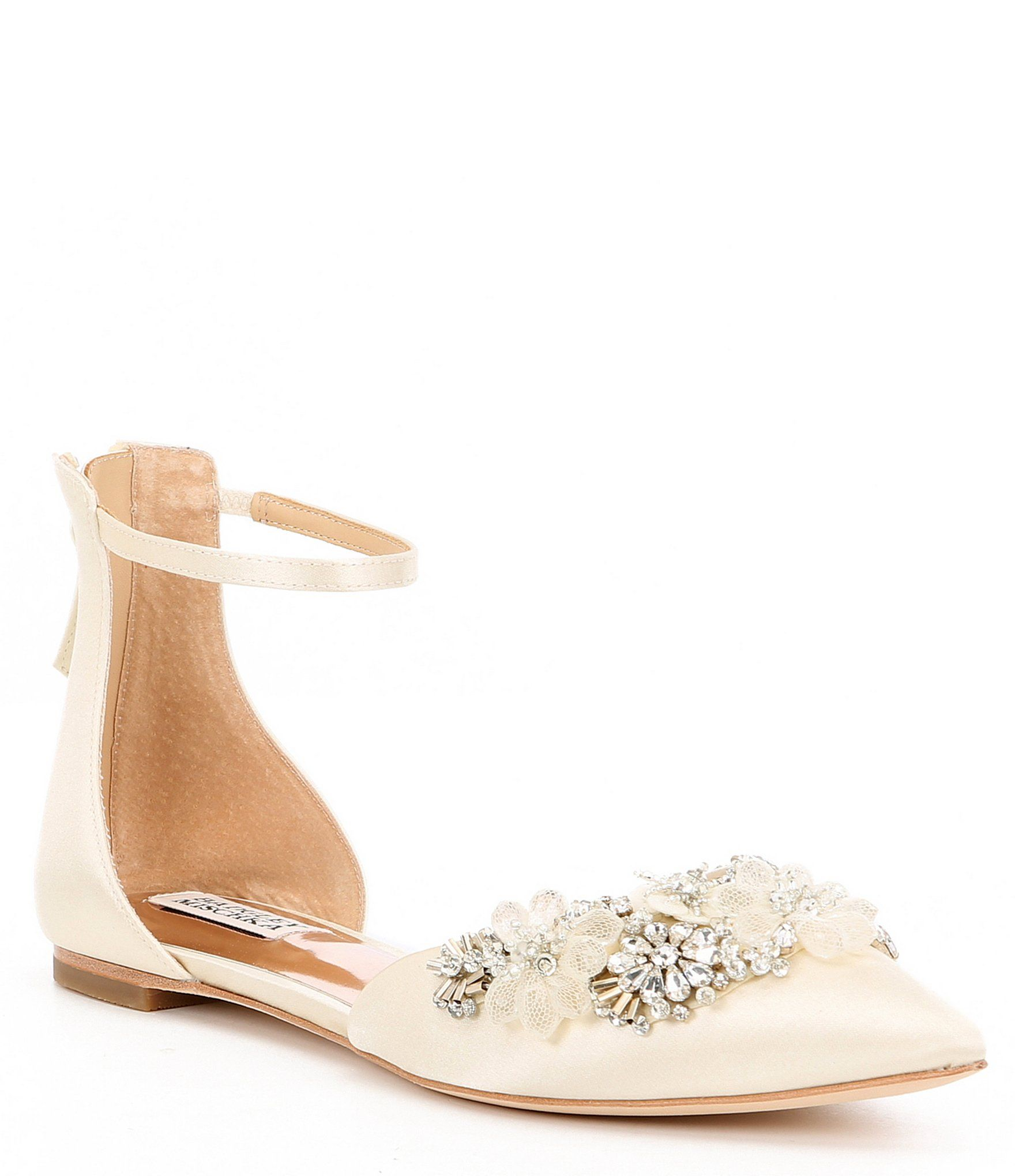 Badgley Mischka Abby Satin Ornament Ankle Strap Flats