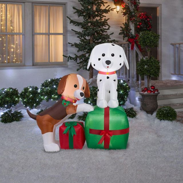 Dalmatian and Beagle Puppy Dogs Holiday Inflatable Heartwarming - inflatable outdoor christmas decorations