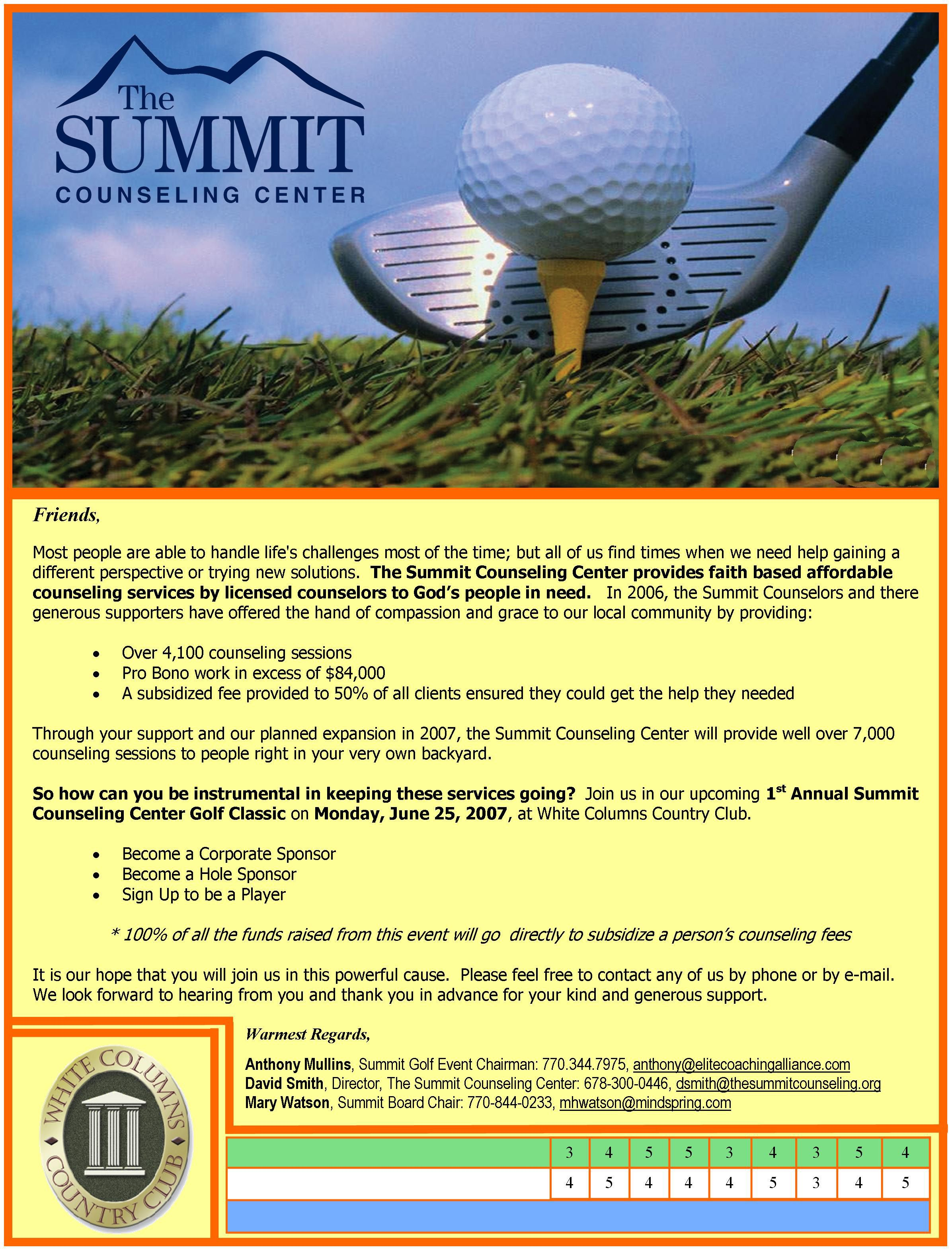 Summit Counseling Center Annual Golf Tournament Fundraiser