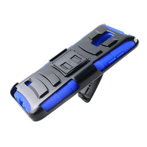 SAMSUNG NOTE 4,HYBRID BLUE/BLACK BELT CLIP HOLSTER W/STAND RUGGED PLASTIC CASE