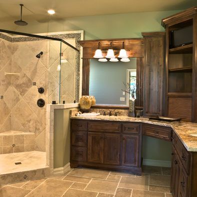 Best 25 corner bathroom vanity ideas on pinterest his for Bathroom l shaped vanities