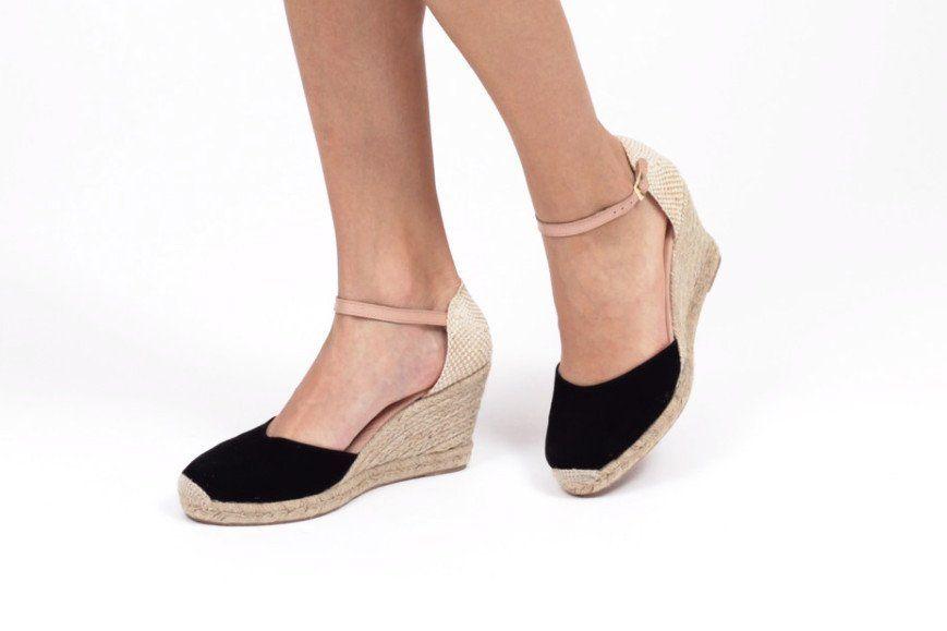 miMaO Esparto Negro - Sandalias mujer tacón cuña cómodo color negro piel ante yute- Comfort women's sandals heel wedge espadrilles black suede leather