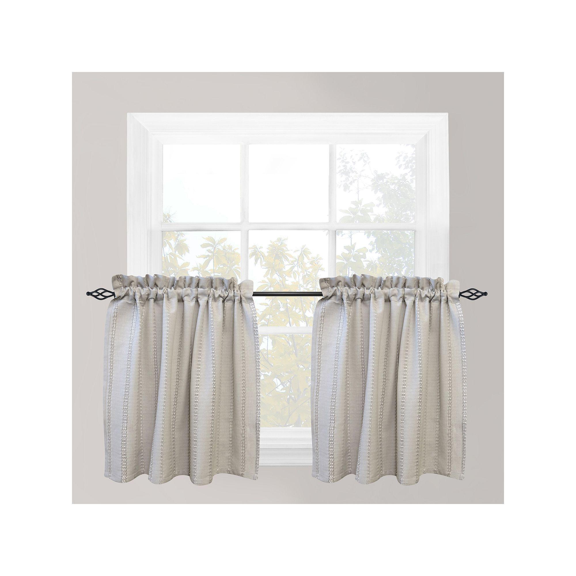 Park b smith eyelet chambray tier kitchen window curtain set