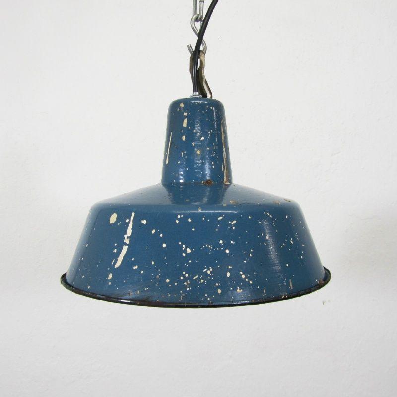 Emaille hanglamp blauw | lampen | Pinterest