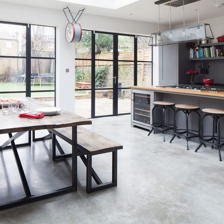 kitchen makeover with grey plain english units and